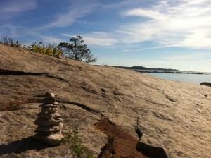 The rock cairn I built near my meditation spot.