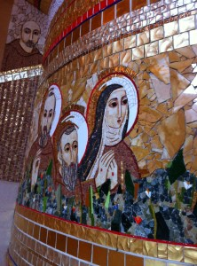 The stunning tile mosaics at Padre Pio's new church.