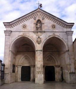 Entrance to the grotto of Michael the Archangel in Monte Sant'Angelo, Italy.