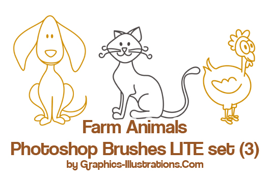 Farm Animals LITE Photoshop Brushes set