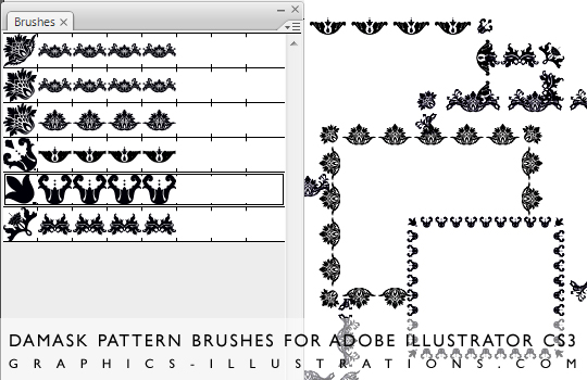 Download Damask Pattern brushes for Adobe Illustrator CS3