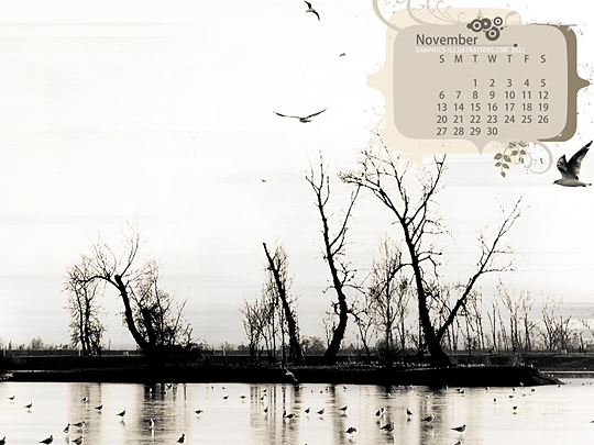 Desktop Wallpaper Calendar November 2011 - Using Photoshop Brushes