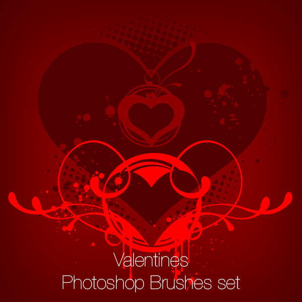 Valentine's Hearts Set Photoshop Brushes