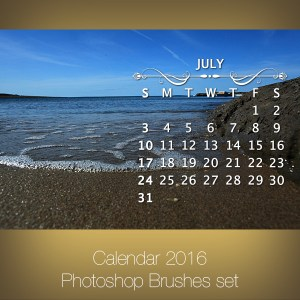 Calendar 2016 Photoshop Brushes