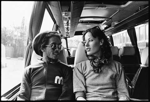 """""""I can't be sure but I think Neville Garric, the Wailers' art director, took this shot of Bob and me,"""" Ms. Simon said. """"Whoever it was, I'm glad that they did because it's the only one I have."""" The European Exodus Tour, Germany. 1977."""