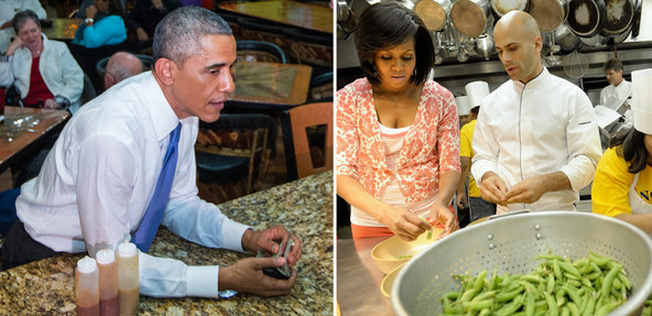 Left, President Obama at a taqueria in Nashville in December. Right, Michelle Obama handling peas in the White House kitchen with Chef Sam Kass in 2009.