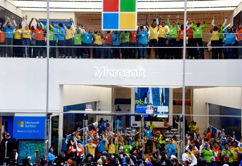 The new Microsoft flagship store on Fifth Avenue in New York opened on Monday.