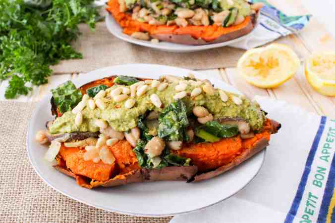 Mushroom and Cannellini Loaded Sweet Potato from The Grateful Grazer.