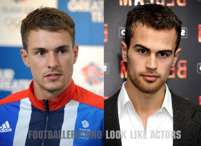 "Arsenal's Welsh midfielder Aaron Ramsey (L) and Theo James of ""Divergent"" fame"