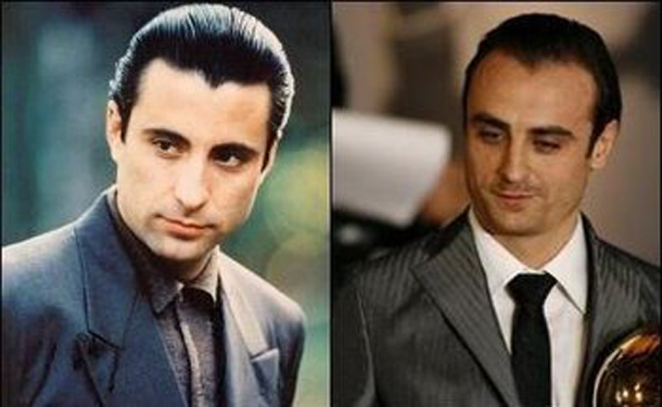 Bulgarian footballer Dimitar Berbatov (R) and Andy Garcia