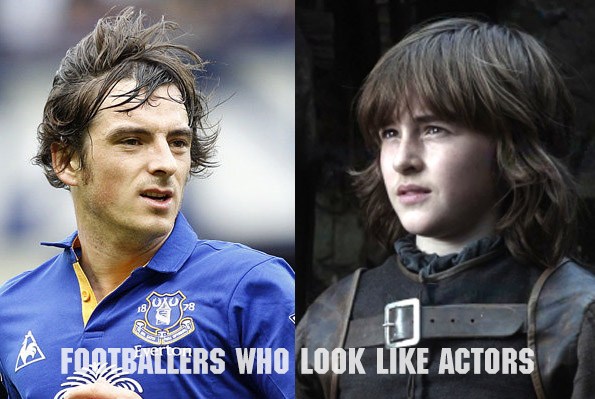 Everton's Leighton Baines and Isaac Hempstead Wright, or better known as Brandon Stark in Game of Thrones
