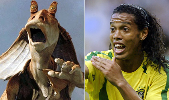 Who can ignore this uncanny resemblance between Ronaldinho (R) and Jar Jar Binks?