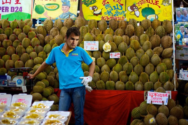 Roger Federer selling durians (Photo: GrateNews)