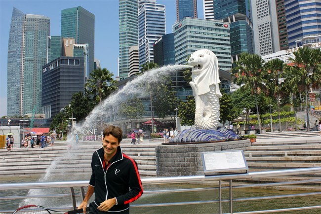 Roger Federer visiting the Merlion (Photo: GrateNews)