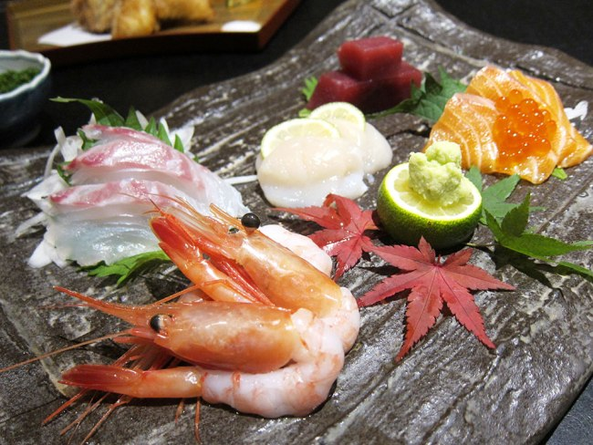 The sashimi are air flown in twice weekly