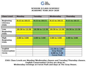 Session 2 Class Schedule 2019-2020