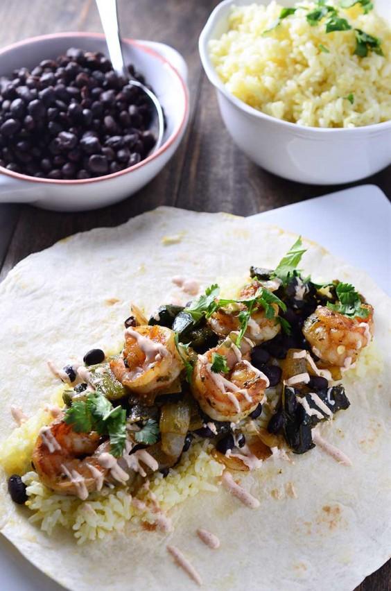 6. Shrimp and Roasted Poblano Burrito