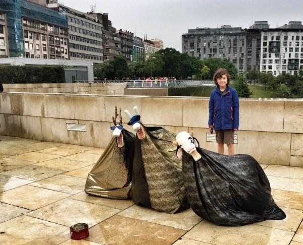 Street artists Guggenheim Bilbao Spain