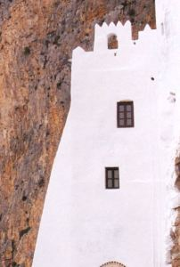 entrance to the monastery in Amorgos
