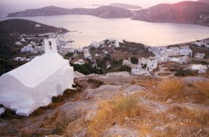 sunset view of the port from Panagia Gremiotissa in Hora in Ios