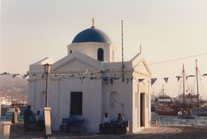 Agios Nikolaos church at the old port in Mykonos