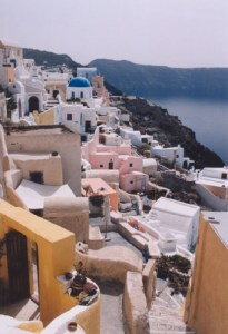 Colourful houses in Oia in Santorini