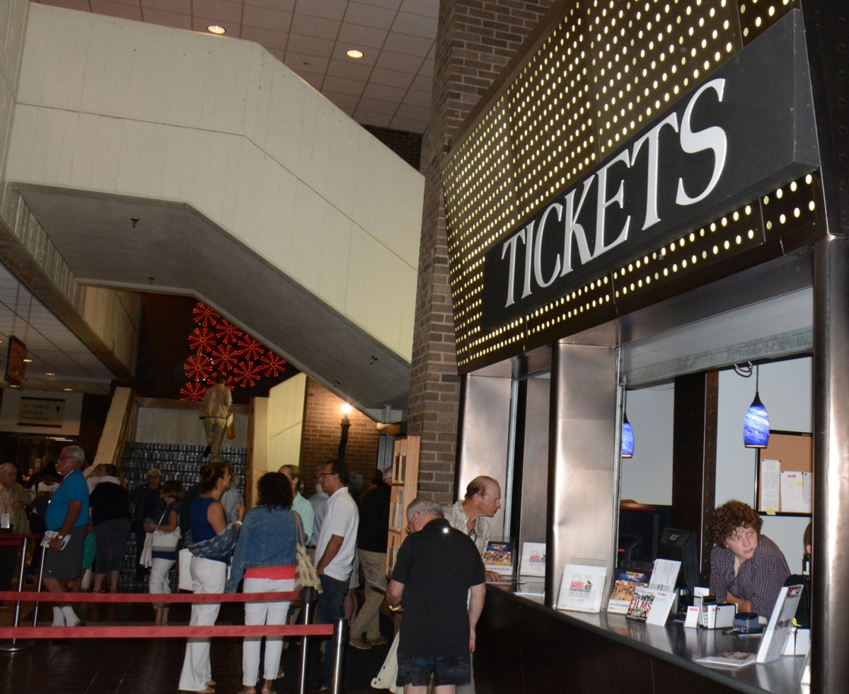Patrons puchase tickets at the Staller Center for the Arts at the Stony Brook Film Festival on July 28, 2016. Photo by Alex Gelabert.