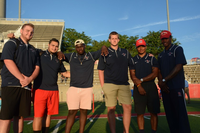 From left to right, offensive lineman Brennan Souhrada, offensive lineman Anthony Catapano, Defensive end Sam Kamara, Offensive lineman Ian McLean, Cornerback TJ Morrison, and quaterback Ty'quell Fields.