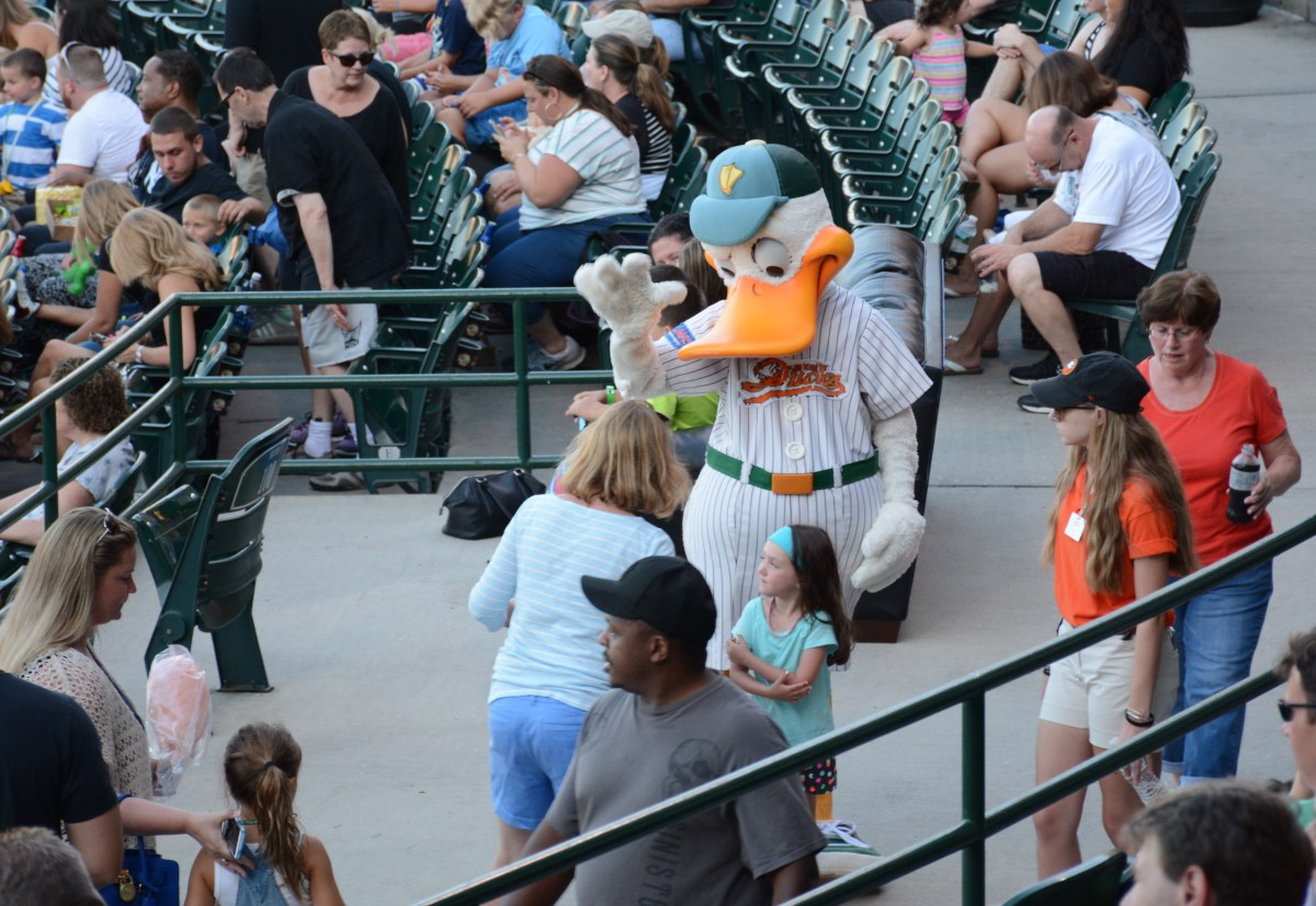 The Ducks mascot, Quackerjack, meets spectactors at Wednesday night's double header at Bethpage Ballpark.   Photo by Jamie Molnar