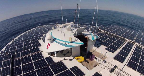 solar panels on PlanetSolar boat