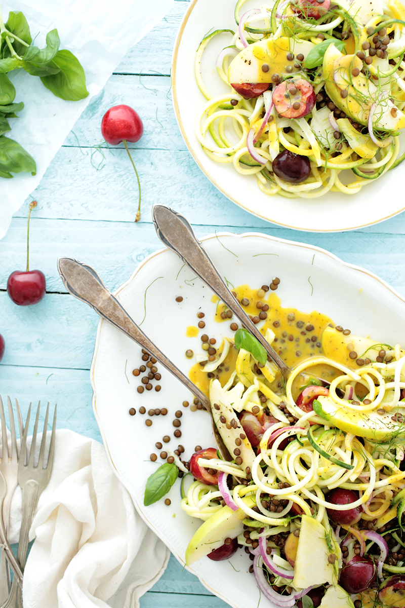 Vegan Spiralized Zucchini, Cherry and Lentil Salad