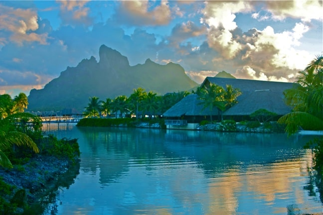 Sunset on the Lagoon at the Four Seasons Resort Bora Bora