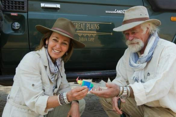 Dereck and Beverly Joubert with Great Plains Origami Rhino