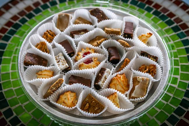 A Cajun Food Tours sampling of cookies at Keller's Bakery in Lafayette, Louisiana