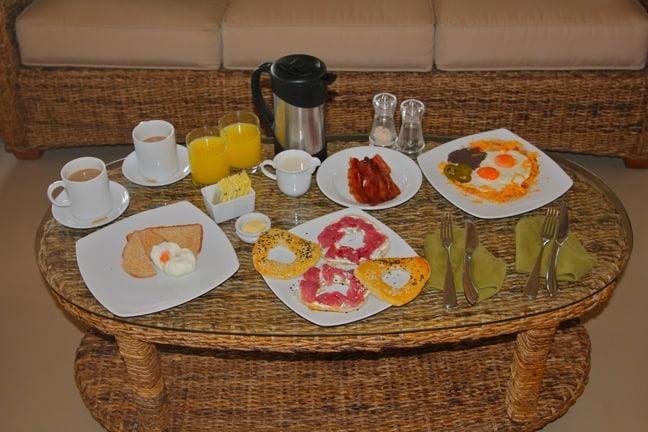 Breakfast in Our Yurt on Islas Secas, Panama