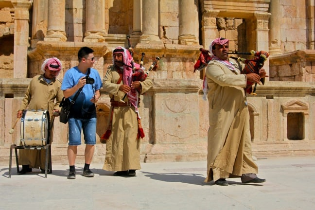 Pipers Perform at Jerash's South Theater in Jordan