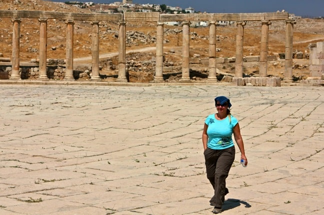 Mary in Jerash's Oval Forum, Jordan