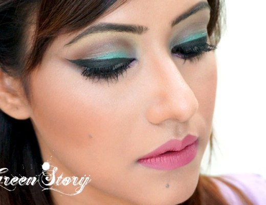 Mint eye makeup