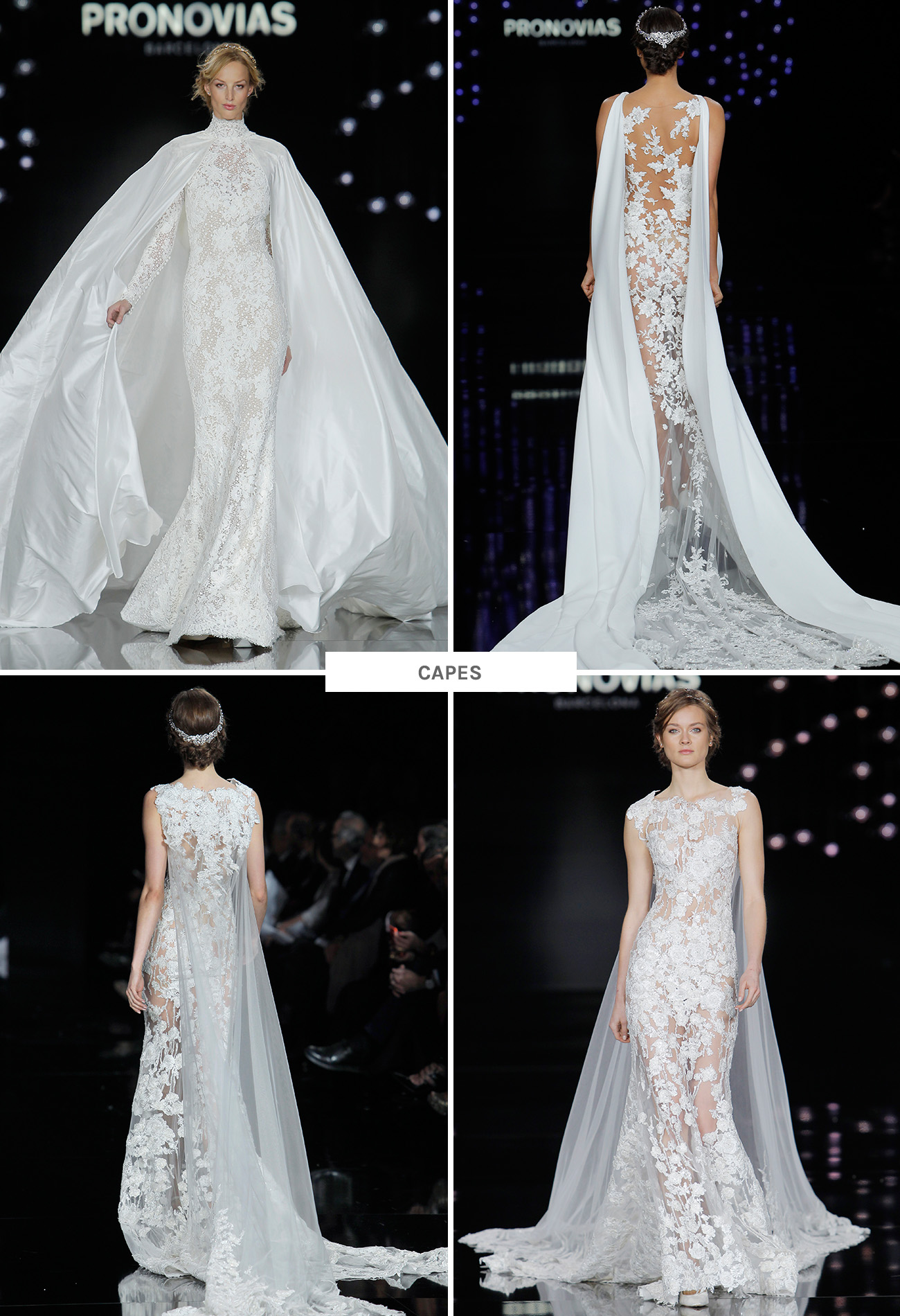 wedding dress trends from barcelona bridal fashion week wedding dress with cape Pronovias Wedding Dresses with capes from Barcelona Bridal Week