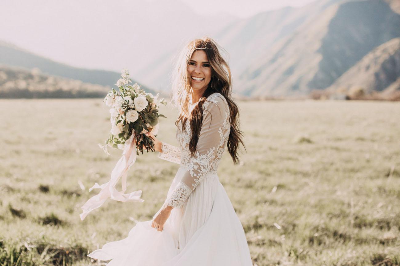 french bohemian backyard wedding gabby patrick backyard wedding dresses created a dreamy white green bouquet for Gabby Patrick s portrait session And that dress right It s by Leanne Marshall Utah Backyard Wedding