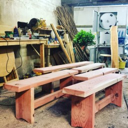 Sequoia benches in workshop
