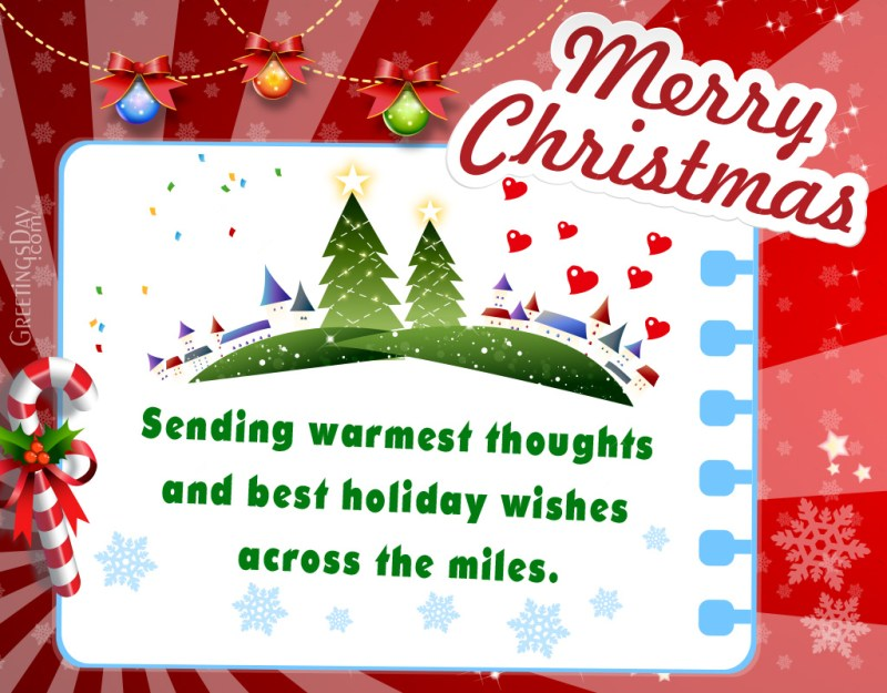 Nice Holiday Greetings Across Miles Andwishing You A Very Merry A ...