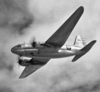 CNAC C-46 in flight, late 1940s
