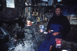 Relaxing in the basecamp hut in what was then called Campo Bridwell
