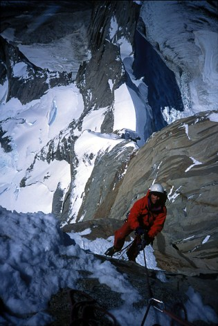 Charlie jumaring just below the Ice Towers