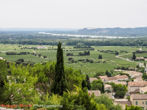 View over Châteauneuf-du-Pape, looking back down the Rhone River towards Avignon