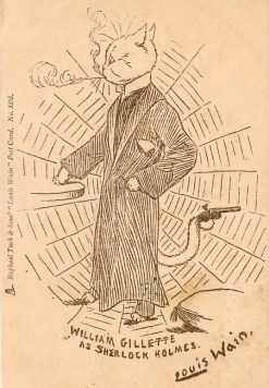 louis-wain-william-gillette-raphael-tuck-postcard-1902