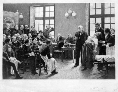 charcot demonstrating hysteria (c. wellcome library)