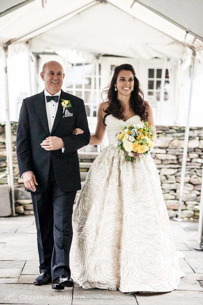 winvian wedding ceremony photos bride with father walking down aisle