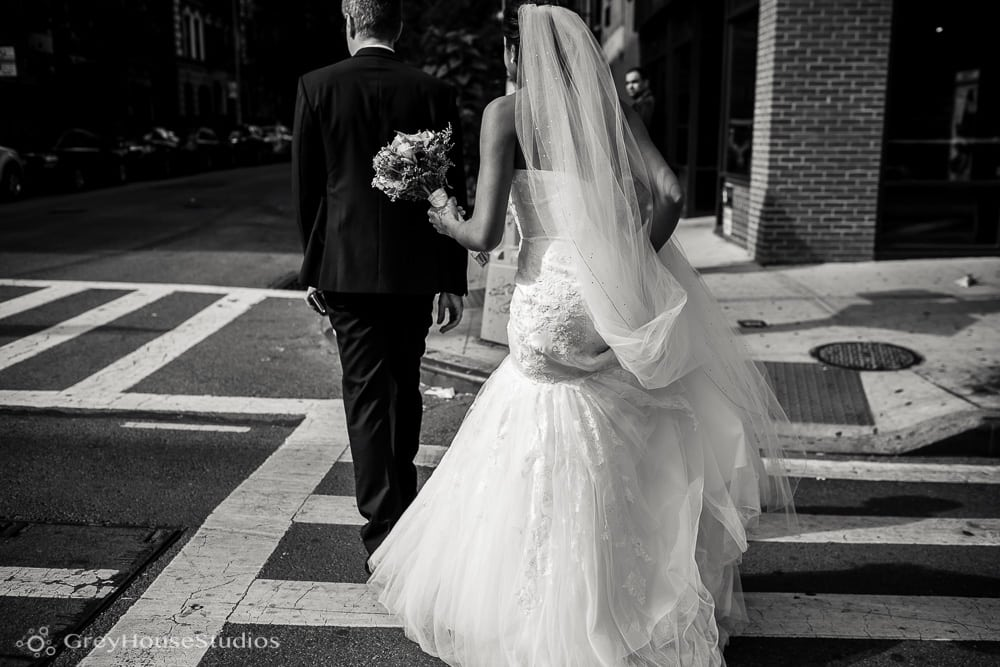 nyc wedding bride and groom portraits crosswalk photos first look